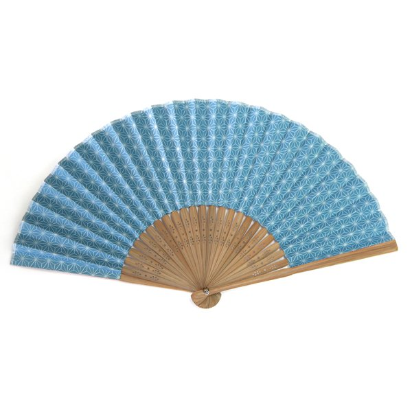画像1: ★帰省のお土産にオススメ★ 印傳のような紙の扇子【麻の葉】にぶ青 (1)