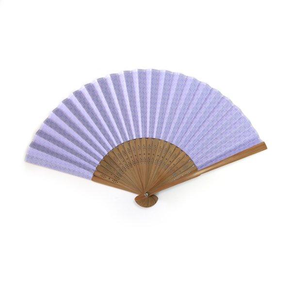 画像1: 印傳のような紙の扇子【七宝】うす藤紫 (1)